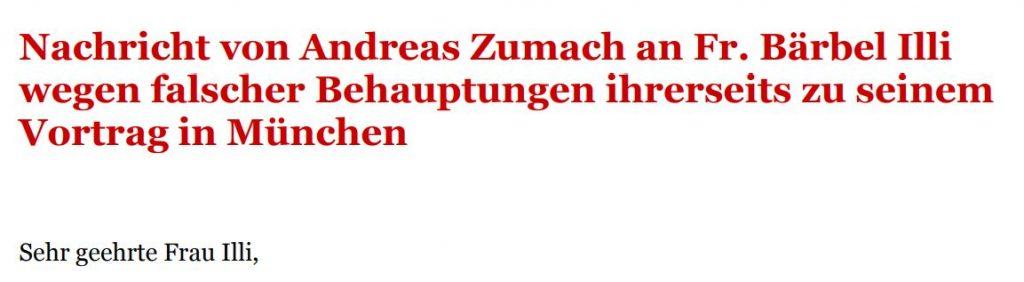 Nachricht von Adreas Zumach an Fr. Bärbel Illi