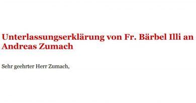 Die Unterlassungserklärung von Fr. Bärbel Illi an Andreas Zumach